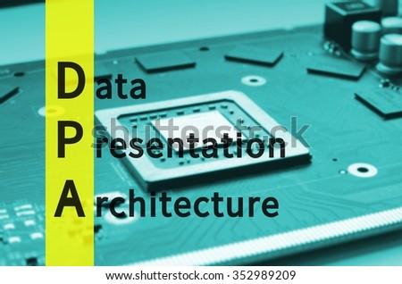Acronym dpa data presentation architecture stock illustration.