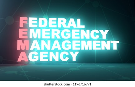 Acronym FEMA - Federal Emergency Management Agency. 3D rendering. USA administrative concept illustration