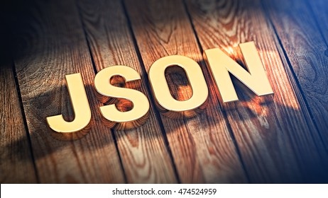 """The acronym """"JSON"""" is lined with gold letters on wooden planks. 3D illustration image"""