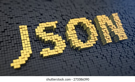 Acronym 'JSON' of the yellow square pixels on a black matrix background. JavaScript Object Notation concept.