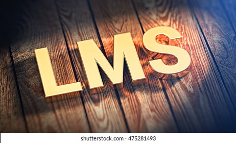 """The acronym """"LMS"""" is lined with gold letters on wooden planks. 3D illustration image"""