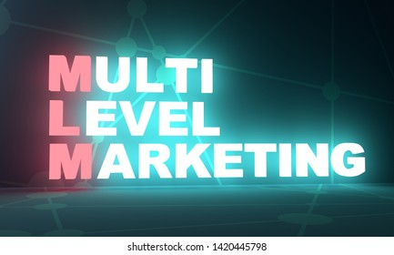 Acronym MLM - Multi level marketing. Business conceptual image. 3D rendering. Neon bulb illumination