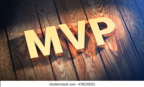 The acronym MVP is lined with gold letters on wooden planks. 3D illustration image