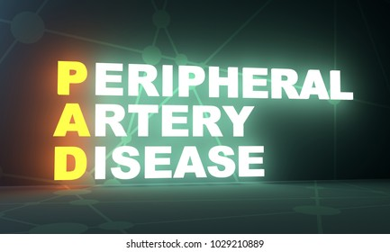 Acronym PAD - Peripheral Artery Disease. Helthcare conceptual image. 3D rendering. Neon bulb illumination