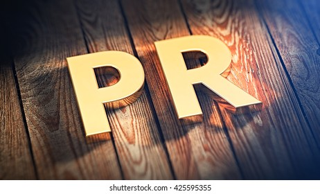 "The acronym ""PR"" is lined with gold letters on wooden planks. 3D illustration image"