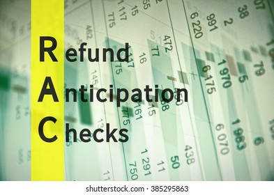 Acronym RAC as Refund Anticipation Checks.
