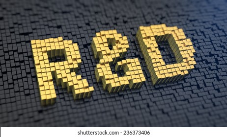Acronym 'R&D' of the yellow square pixels on a black matrix background. Research and development department