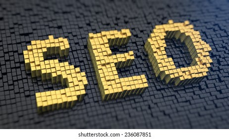 Acronym 'SEO' of the yellow square pixels on a black matrix background. Internet search optimization concept.