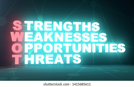 Acronym SWOT - Strengths, Weaknesess, Opportunities, Threats. Business and education conceptual image. 3D rendering. Neon bulb illumination