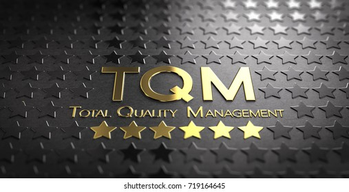 Acronym TQM and the text Total Quality Management written in gold letters over black background with stars