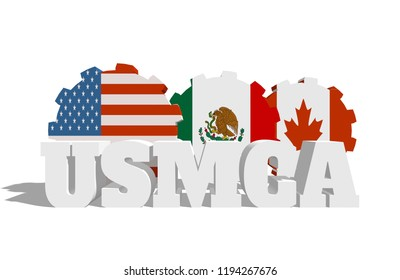 Acronym USMCA - United States Mexico Canada Agreement. 3D rendering. National flags on gears
