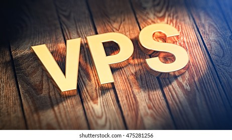 "The acronym ""VPS"" is lined with gold letters on wooden planks. 3D illustration image"