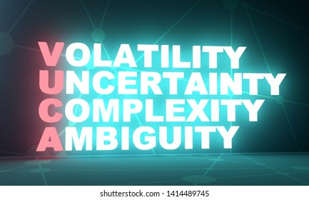 Acronym VUCA - volatility uncertainty complexity ambiguity. Business conceptual image. 3D rendering. Neon bulb illumination