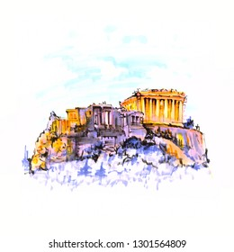 Acropolis Hill, crowned with Parthenon during evening blue hour in Athens, Greece. Picture made markers