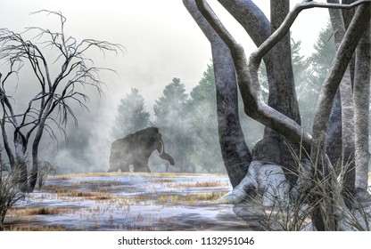 Across a snowy field, a woolly mammoth trudges out of the mists of the Pleistocene.  This massive animal, now extinct, lived during the last ice age. 3D Rendering