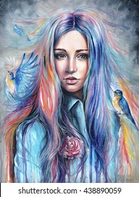 Acrylic colorful painting of a beautiful girl with birds on cloudy background. Mysterious and surreal woman portrait.