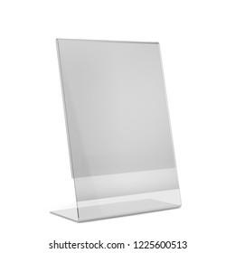 Acrylic holder stand. 3d illustration isolated on white background