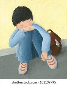 Acrylic illustration of abadoned little boy