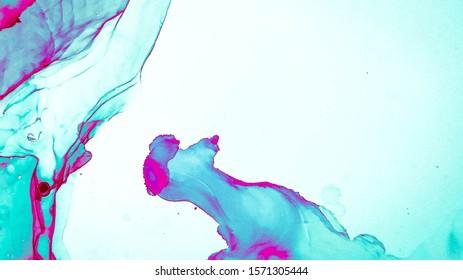 Acrylic Illustration. Alcohol Ink Pattern. luxury Banner. Blue, Rose Acrylic Illustration. Decorative Canva. Multilayer Effect. Blue, Rose Artistic Splash.