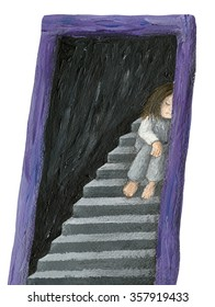 Acrylic illustration of alone girl - artistic content