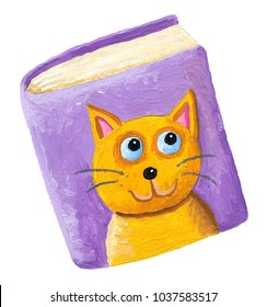 Acrylic illustration of book for cats
