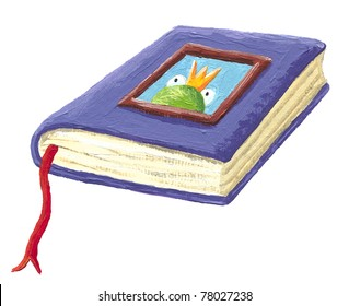 Acrylic illustration of book of fairy tales