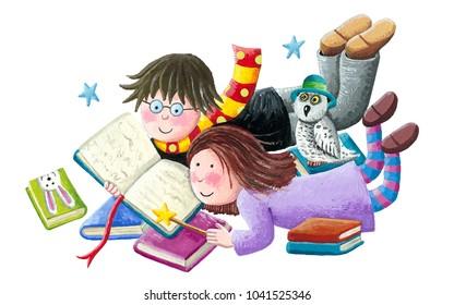Acrylic illustration of the boy and girl enjoy reading books