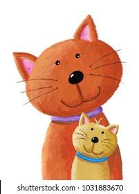 Acrylic illustration of cat and baby kitten