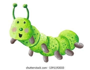 Acrylic illustration of cute funny green caterpillar