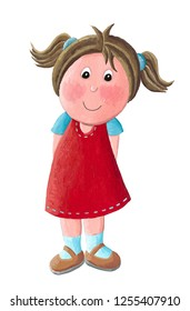 Acrylic illustration of a cute little girl in red dress