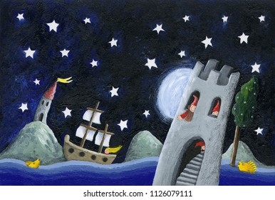 Acrylic illustration of the dwarfs land - castle in the night