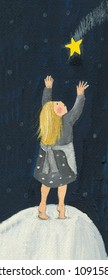 Acrylic illustration of the little match girl and shooting star from H. C. Andersen story