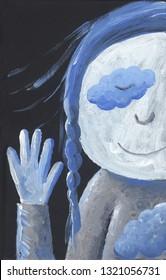 Acrylic illustration on black background of Little Blue Girl says hi - artistic