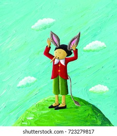 Acrylic illustration of a Pinocchio with donkey's ears and a donkey's tail