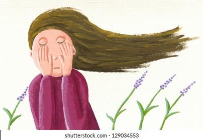 Acrylic illustration of sad girl