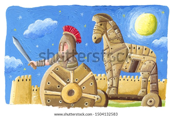 Acrylic illustration of the The Trojan Horse