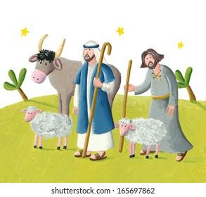 Acrylic illustration of two shepherds