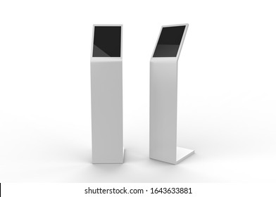 Acrylic Information Show Electronic Display Floor Stand For Branding, 3d render illustration.