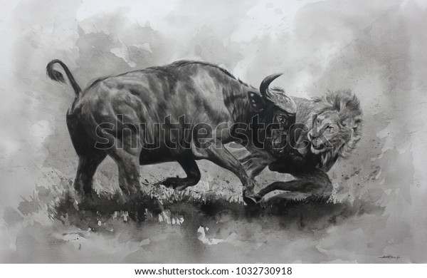 Acrylic Painting Battle Animals On Canvas Stock Illustration