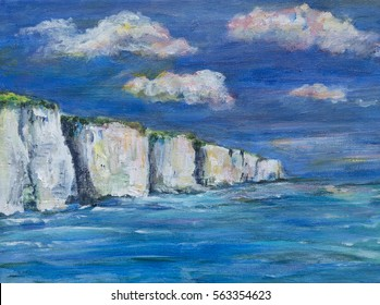 Acrylic painting, illustration of white cliffs, sea and sky. The white cliffs of Kent, England rise above the blue sea with clouds in the sky.