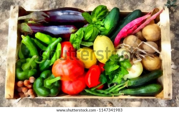 Acrylic painting on canvas art poster in vegetable motif. Contemporary digital big size print in high resolution. Surreal  in bright design. Graphic fantasy drawing. Vegetables mix.