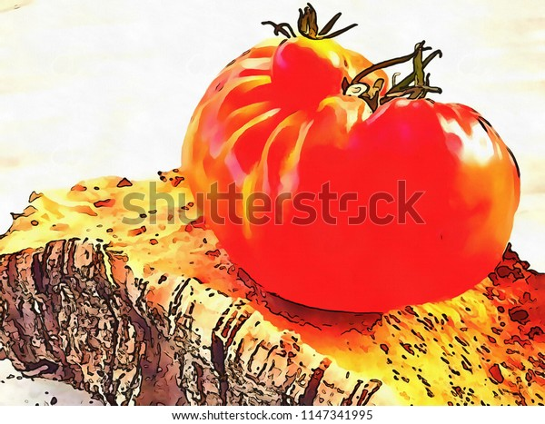 Acrylic painting on canvas art poster in vegetable motif. Contemporary digital big size print in high resolution. Surreal  in bright design. Graphic fantasy drawing. Red ripe tomato.