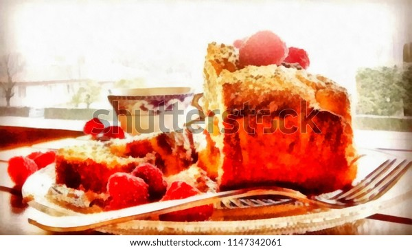 Acrylic painting on canvas art poster in fruit motif. Contemporary digital big size print in high resolution. Surreal fruit in bright design. Graphic fantasy drawing. Light breakfast with fruit pie.