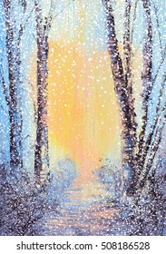 Acrylic painting with a pathway into a heart Winter time scenery with digital snow fall effects