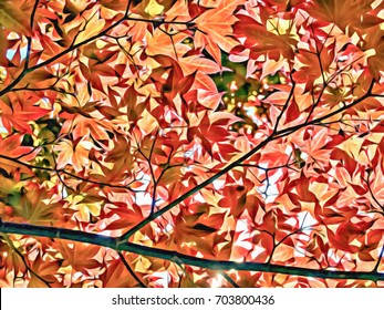 Acrylic Painting; Red Momiji Maple Leaves at the World Heritage Forest Kumano Kodo, Wakayama Prefecture, Japan