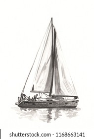 Acrylic painting of sailboat on paper