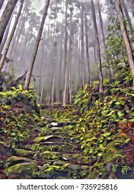 Acrylic Painting; World Heritage Forest Kumano Kodo in Japan in May