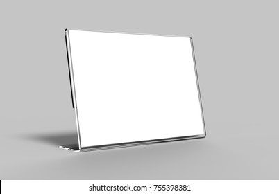 Acrylic Poster Menu Holder Perspex Leaflet Display Stand A3 A4 A5 A6 A7 A8 & A9. 3d render illustration.
