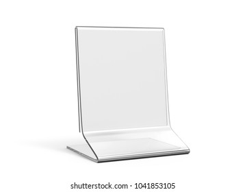 Acrylic stand mockup, 3d render transparent table stand for restaurant menu or product sheets uses