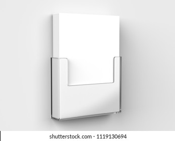 Acrylic Wall Mount Brochure Holder With Blank White Brochures. 3d render illustration.